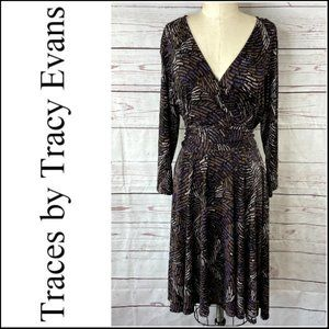 *3/$18*Traces by Tracy Evans Long Sleeve Dress